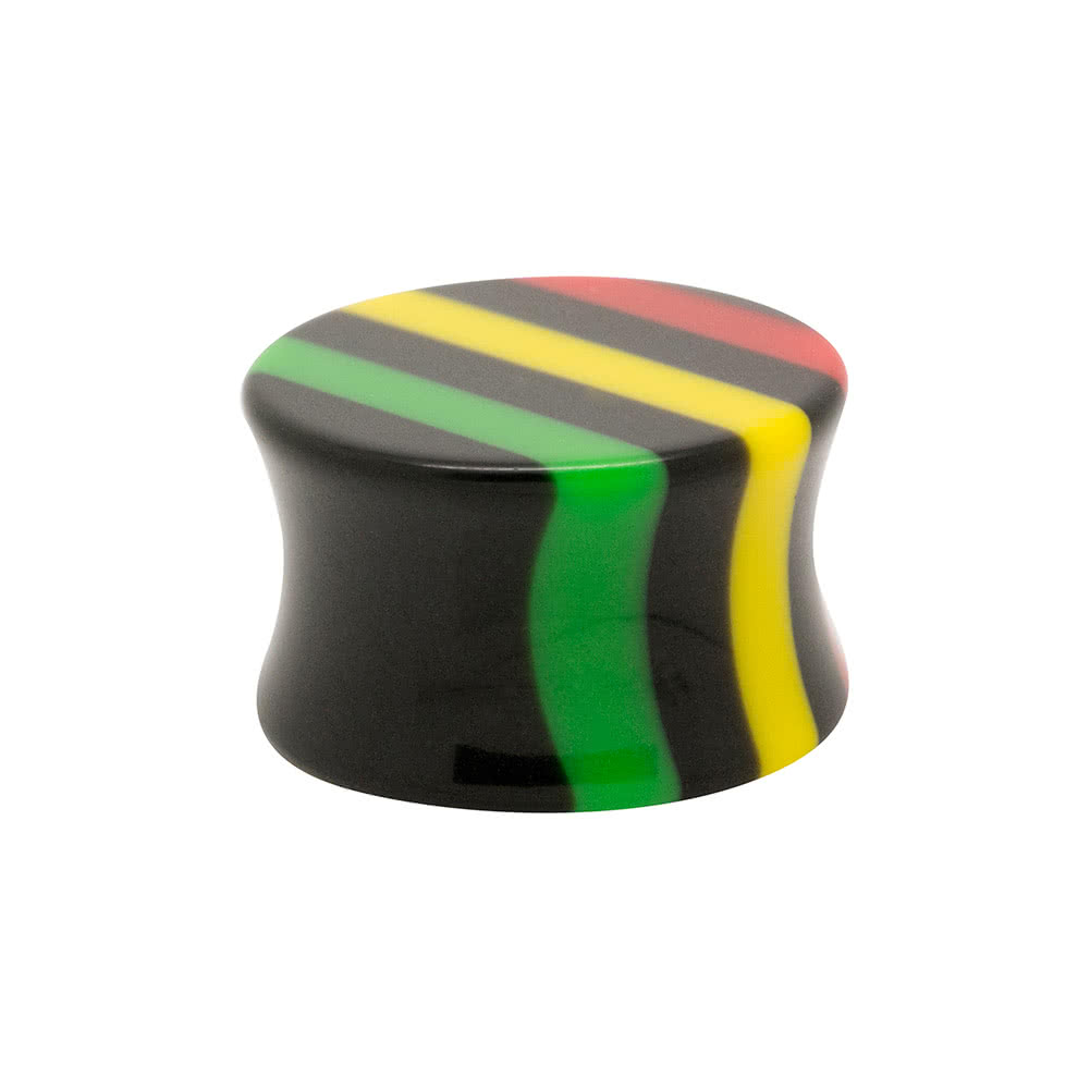 Blue Banana Acrylic Coloured Stripes Ear Plug 3-18mm (Multicoloured)