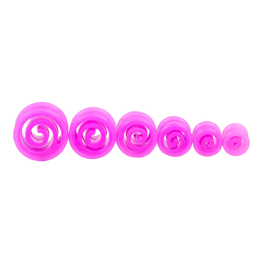 Blue Banana Silicone Spiral Flesh Tunnel 6-16mm (Purple)