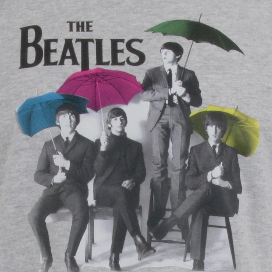 Official The Beatles Umbrella T Shirt (Grey)