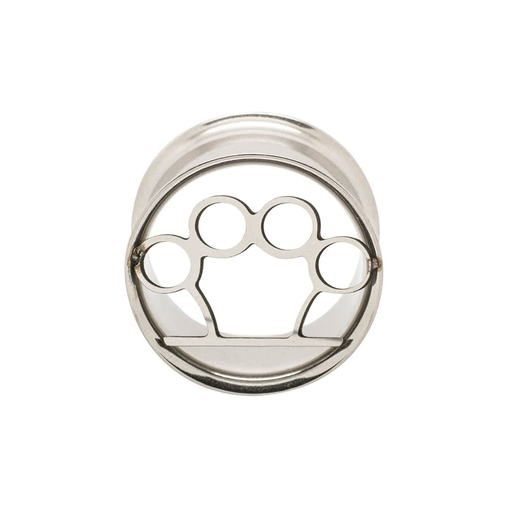 Metal Mafia Steel Brass Knuckles Flesh Tunnel 5-24mm (Silver)
