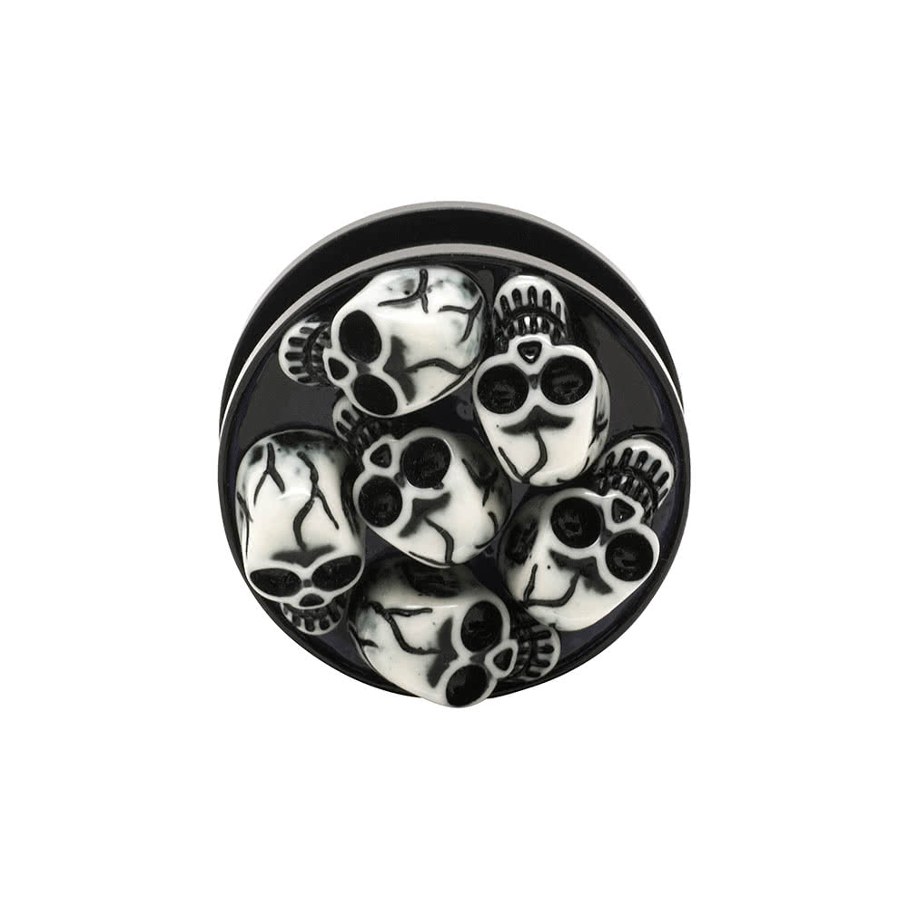 Blue Banana Acrylic Skull Ear Plug 8-30mm (Black)