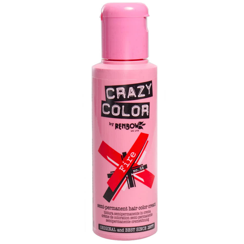Crazy Color Semi-Permanent Hair Dye 100ml (Fire Red)