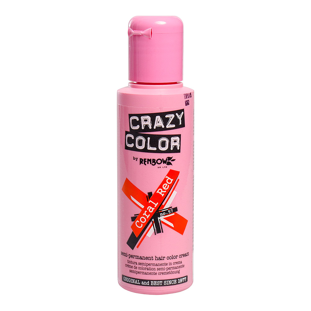 Tinte capilar semi-permanente de Crazy Color 100ml (Coral Red - rojo coral)