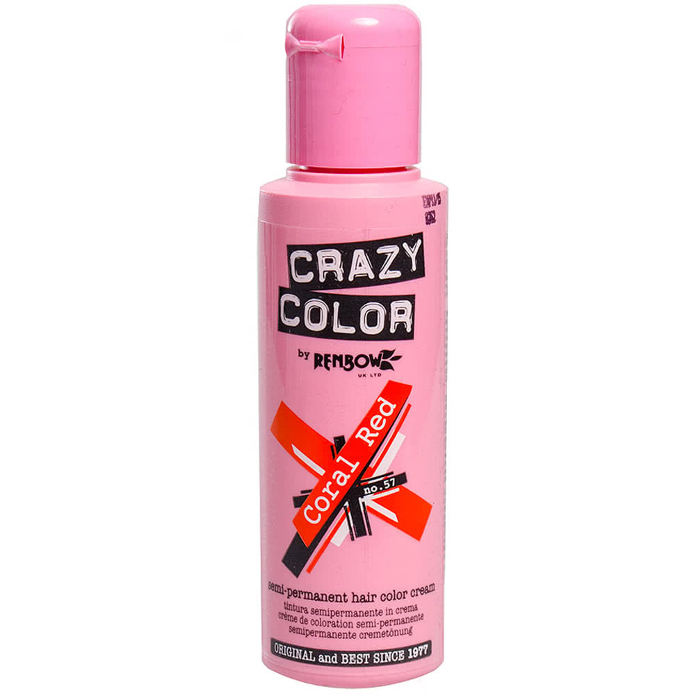 Crazy Color Semi-Permanent Hair Dye 100ml (Coral Red)