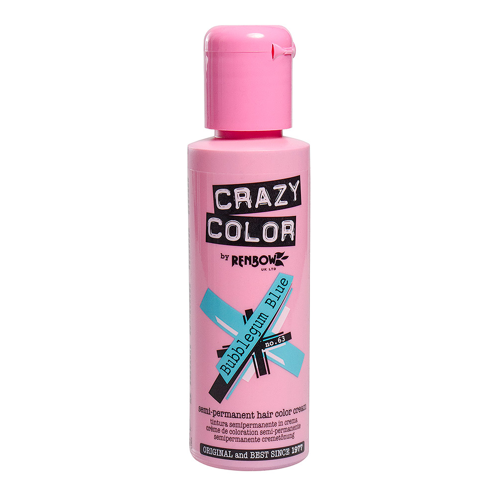 Tintura Per Capelli Semi-Permanente 100ml Crazy Color (Bubblegum Blue - Blu)