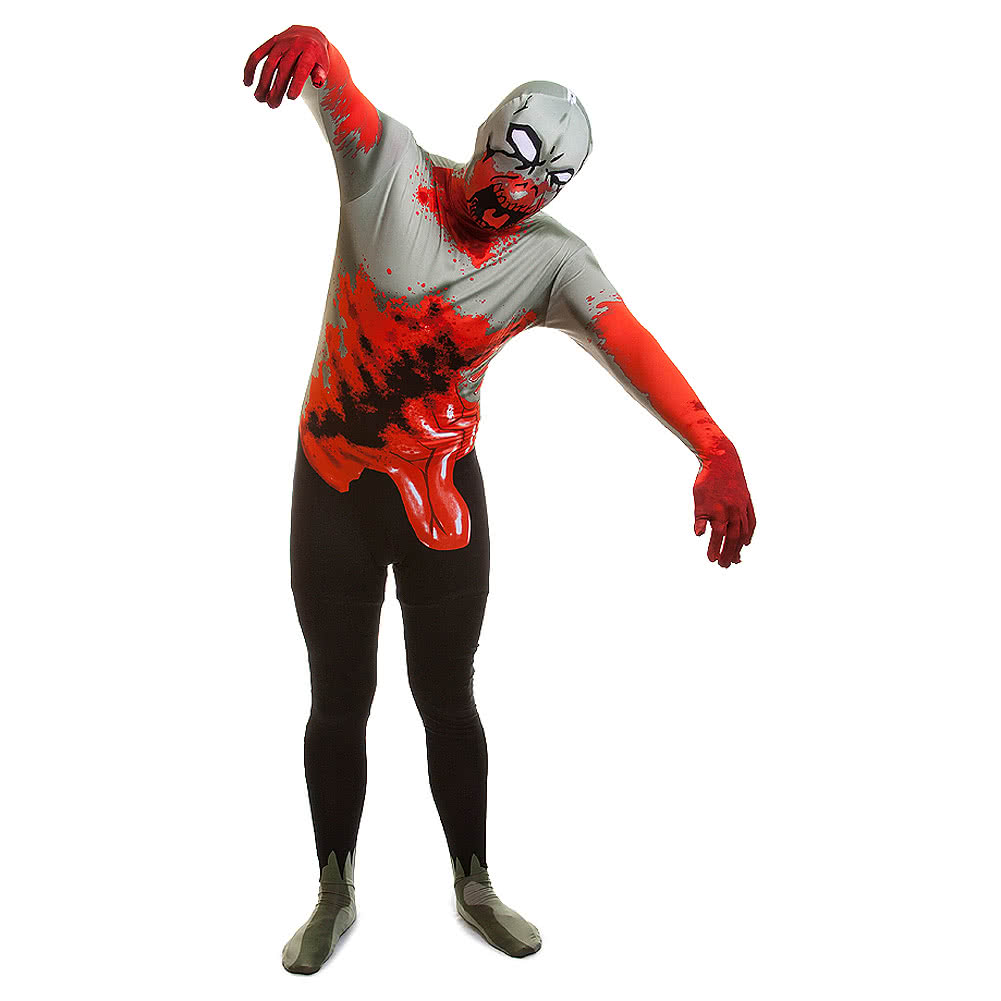 Rubies 2nd Skin Zombie Jumpsuit (White/Black/Red)