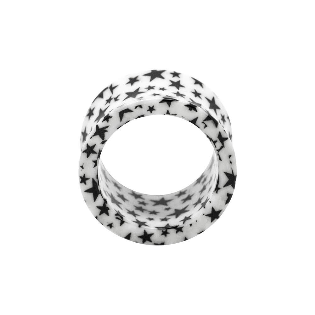 Blue Banana Acrylic Black Star Flesh Tunnel 6-18mm (White)