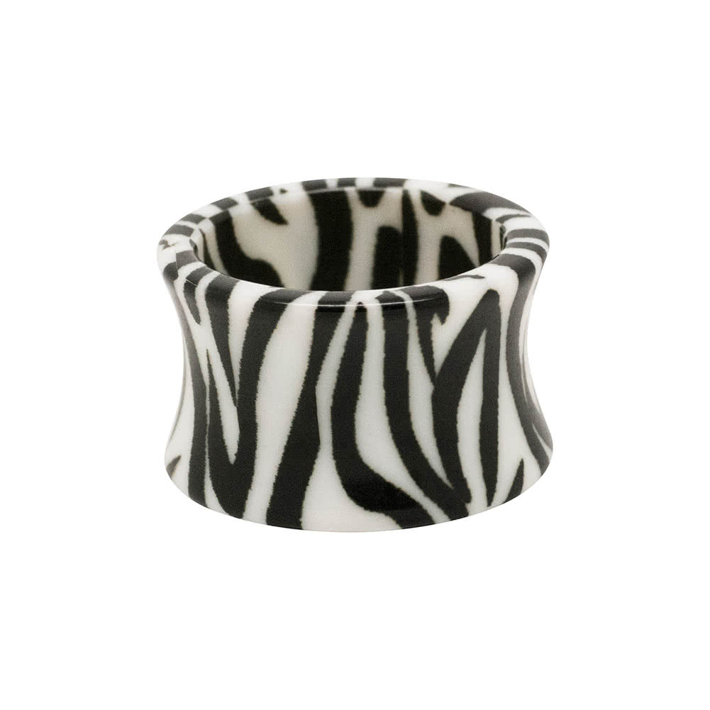 Blue Banana Acrylic Zebra Flesh Tunnel 6-18mm (Black/White)