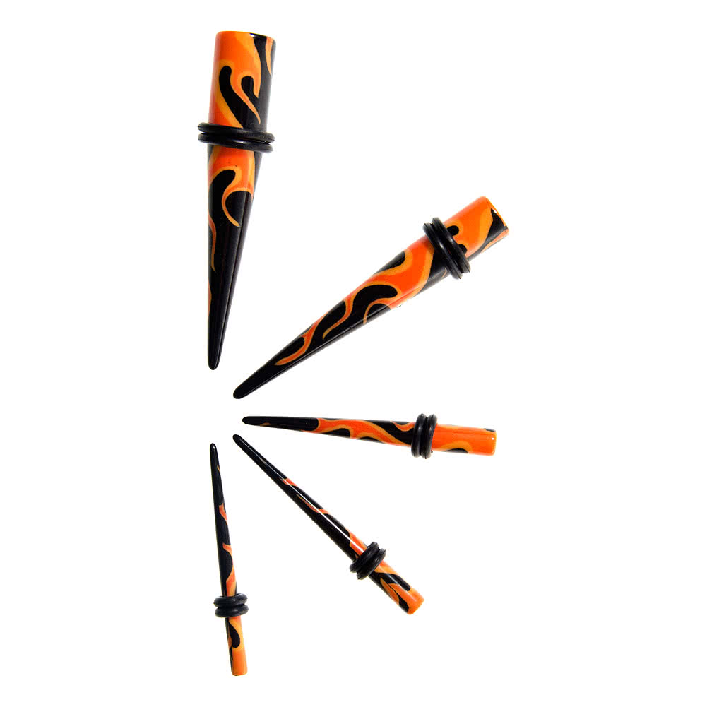 Blue Banana Acrylic Flames Ear Stretcher (Black/Orange)