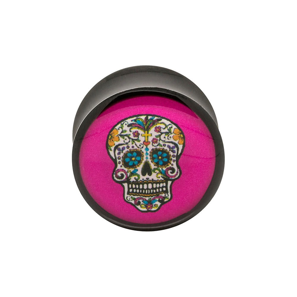 Blue Banana Acrylic Sugarskull Ear Plug 4-22mm (Pink)