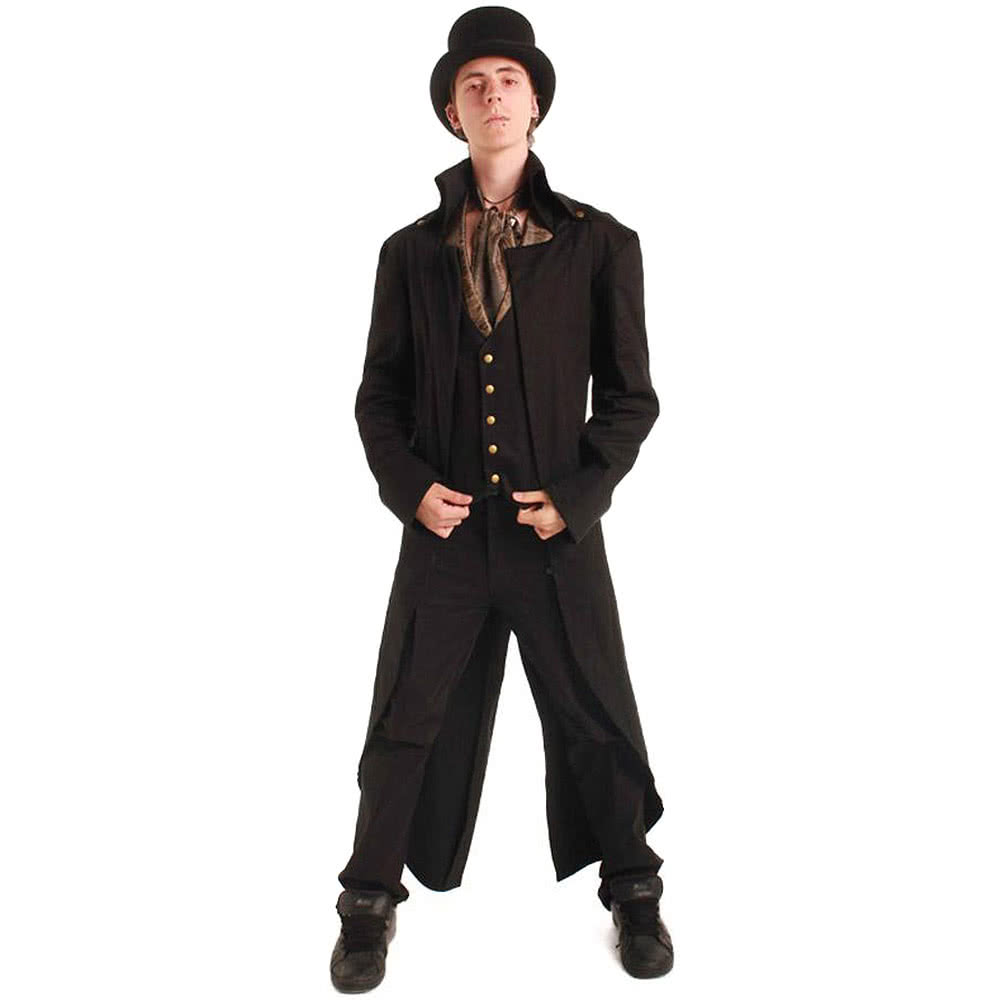 Golden Steampunk Grim Long Coat (Black)