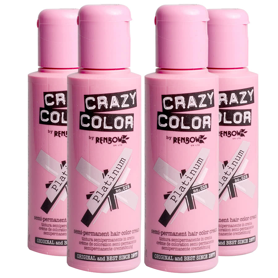 Crazy Color Semi-Permanent Hair Dye 4 Pack 100ml (Platinum)