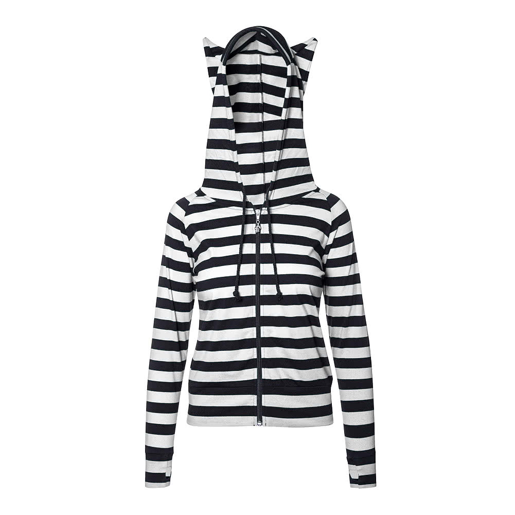 Banned Striped Hoodie (White/Black)