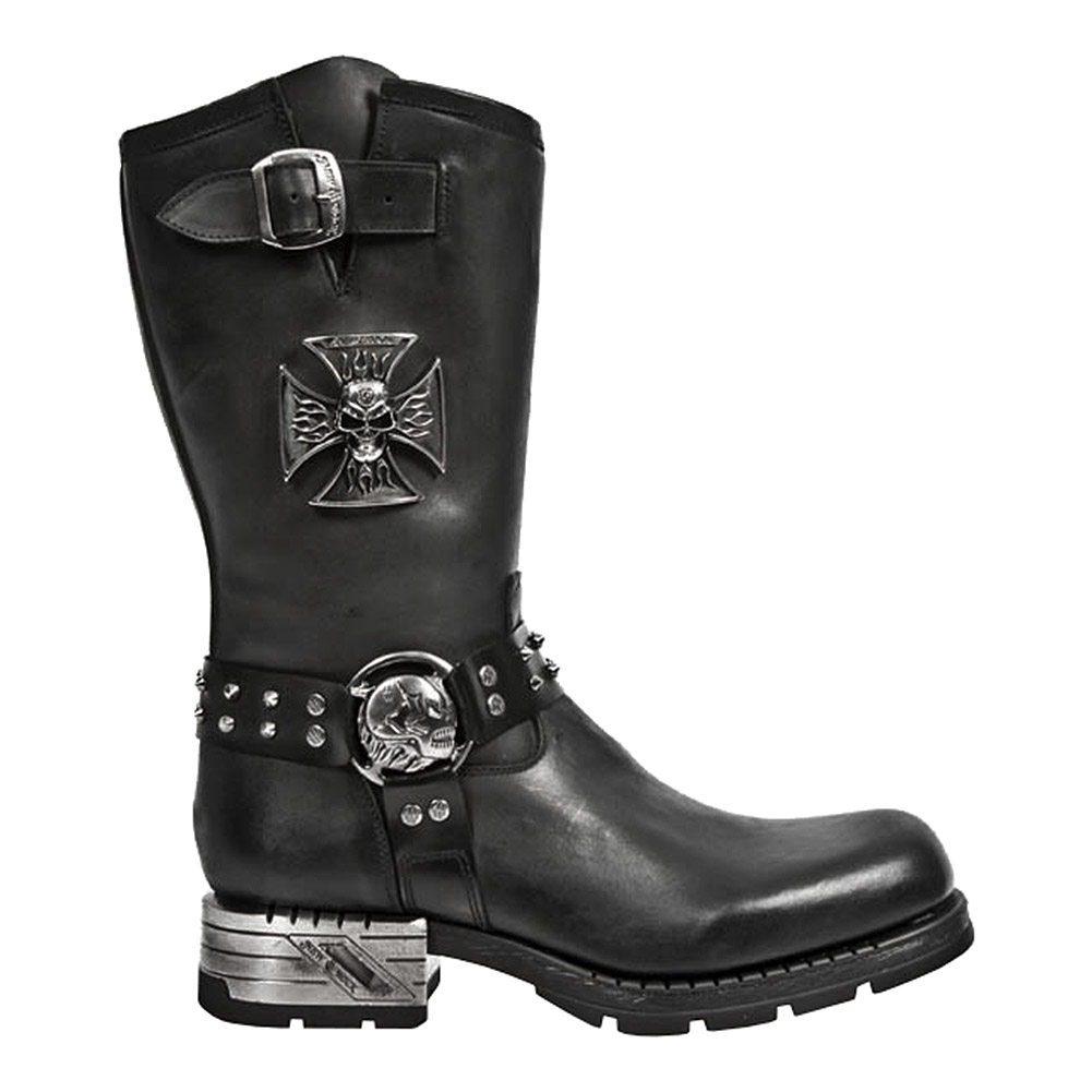 New Rock M.MR030-S1 Motorock Calf Boots (Black)