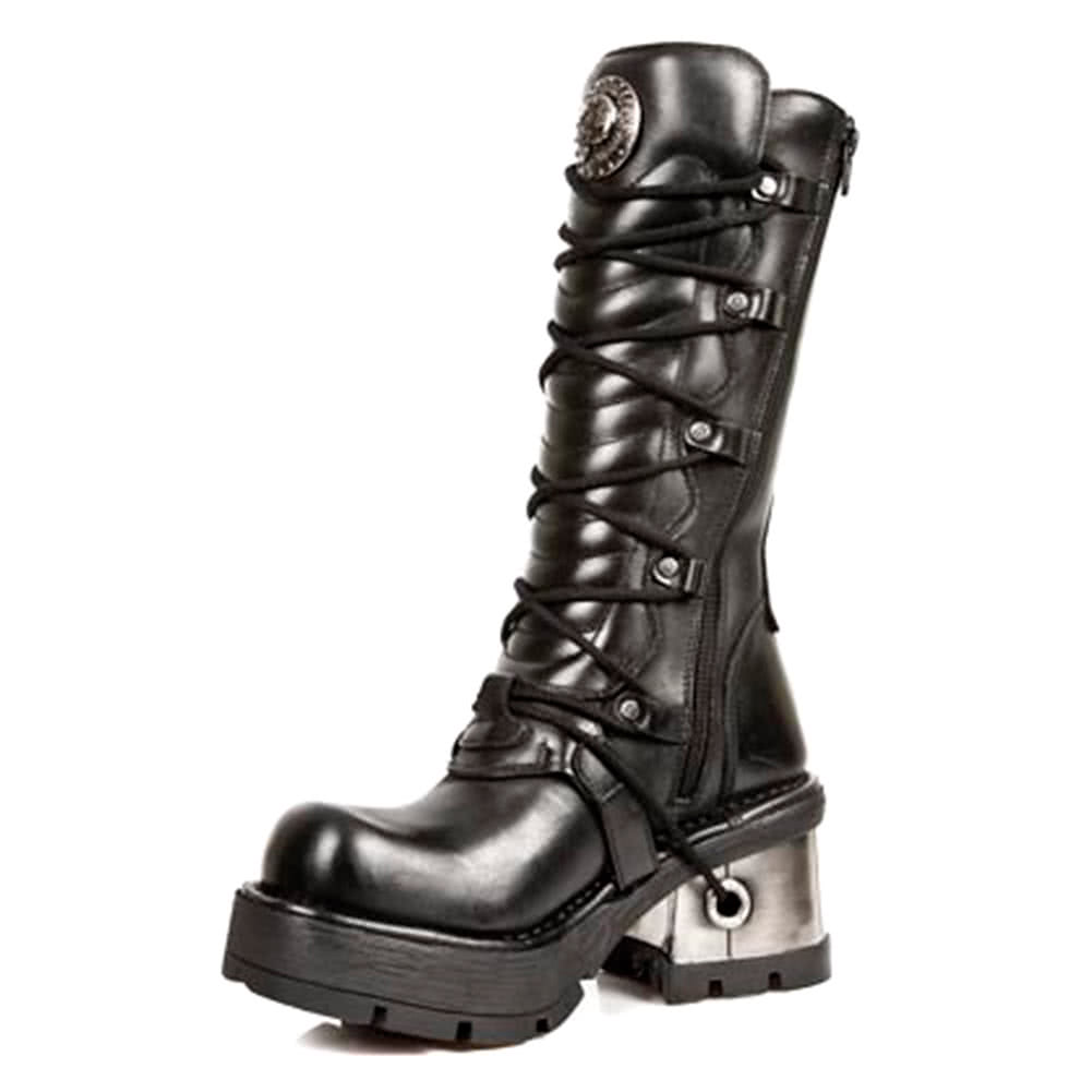 New Rock Style M.1016-S1 Metallic MPX Buckles Boots (Black)