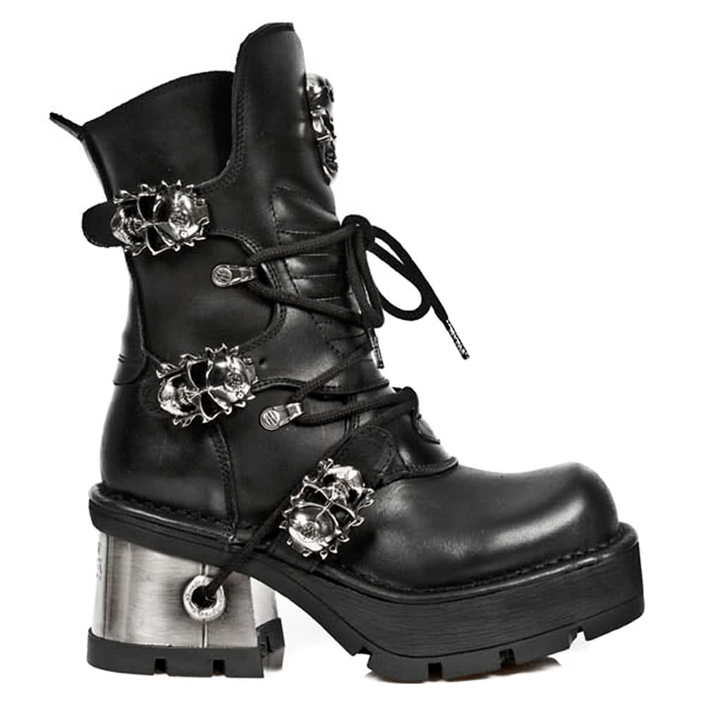 New Rock Style M.1044-S1 Ankle Boots (Black)