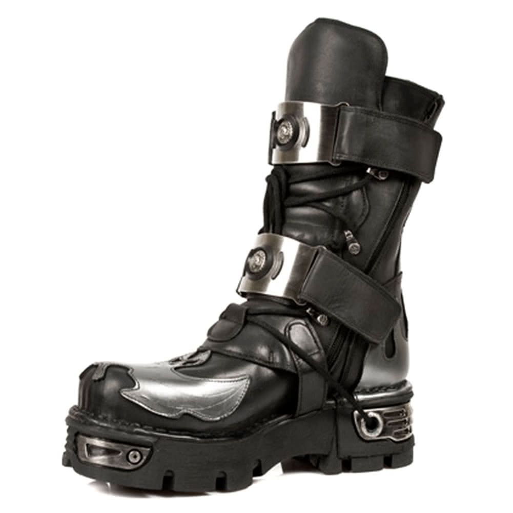 New Rock M.195-S2 Reactor Bat Flame Boots (Black/Silver)