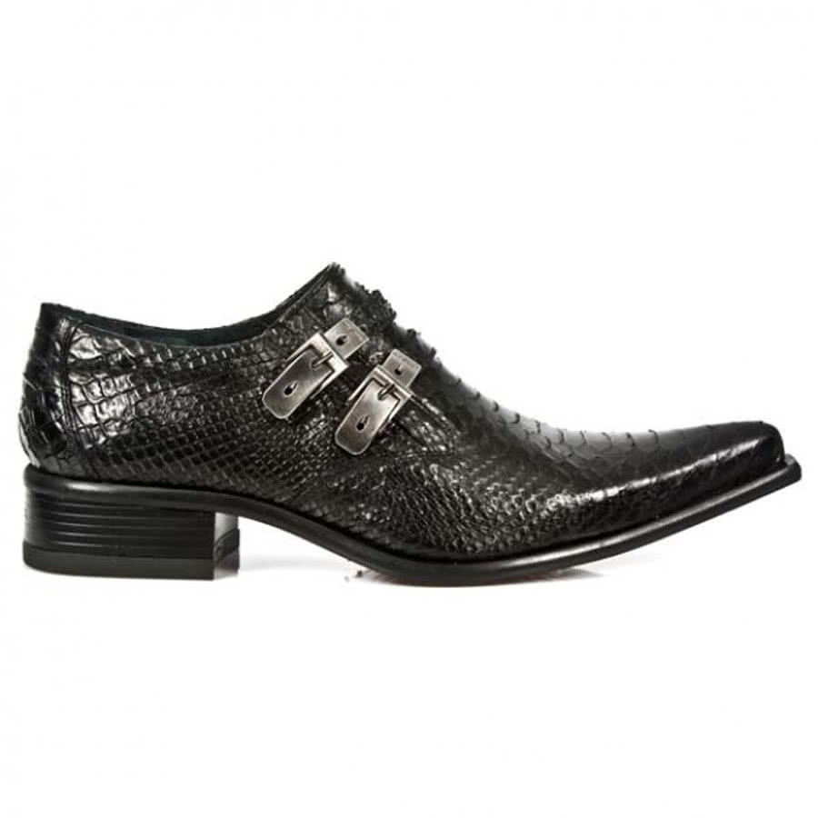 New Rock M.2246-S21 Newman Snakeskin Shoes (Black)
