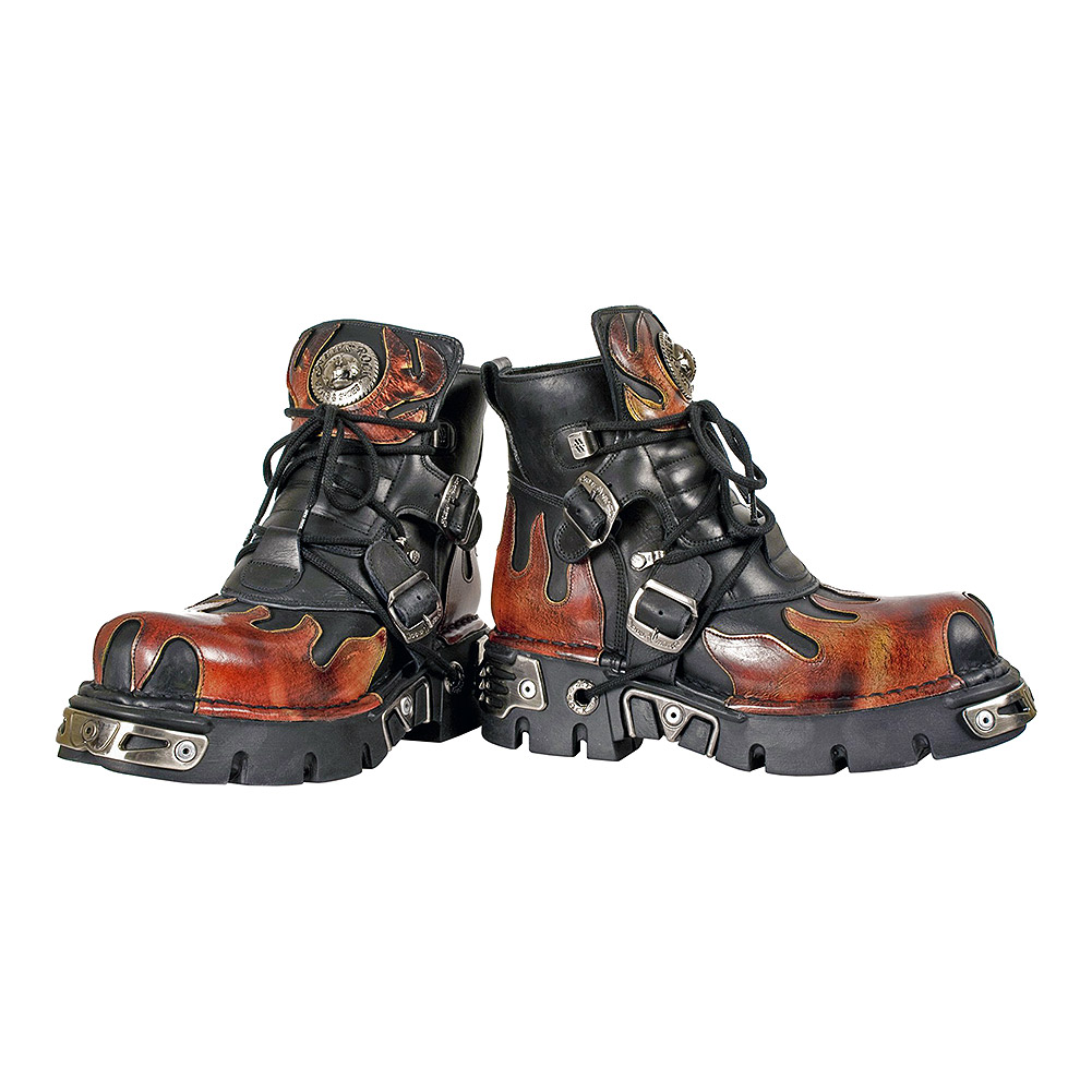 New Rock M.288-S1 Reactor Flame Knöchelstiefel (Schwarz/Orange)