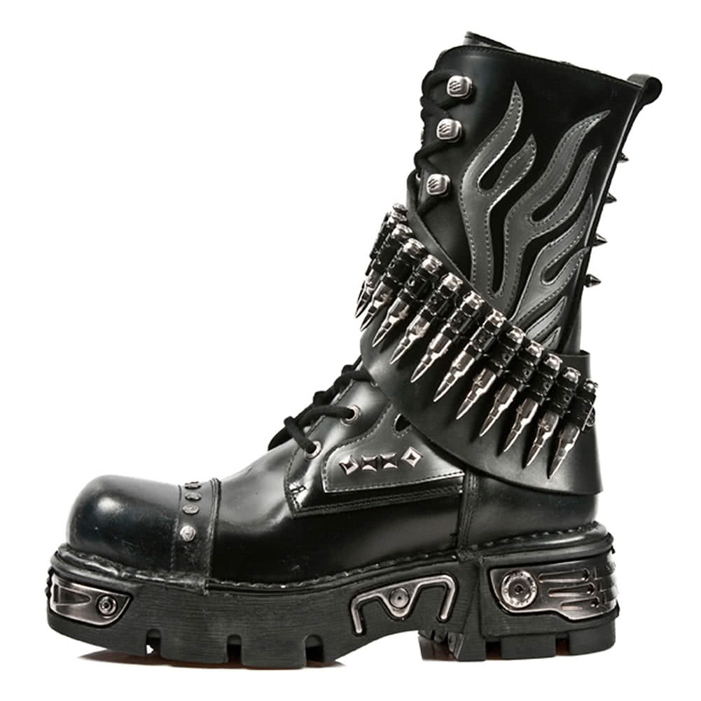 New Rock M.297-S1 Reactor Bullet Flame Half Boots (Black)