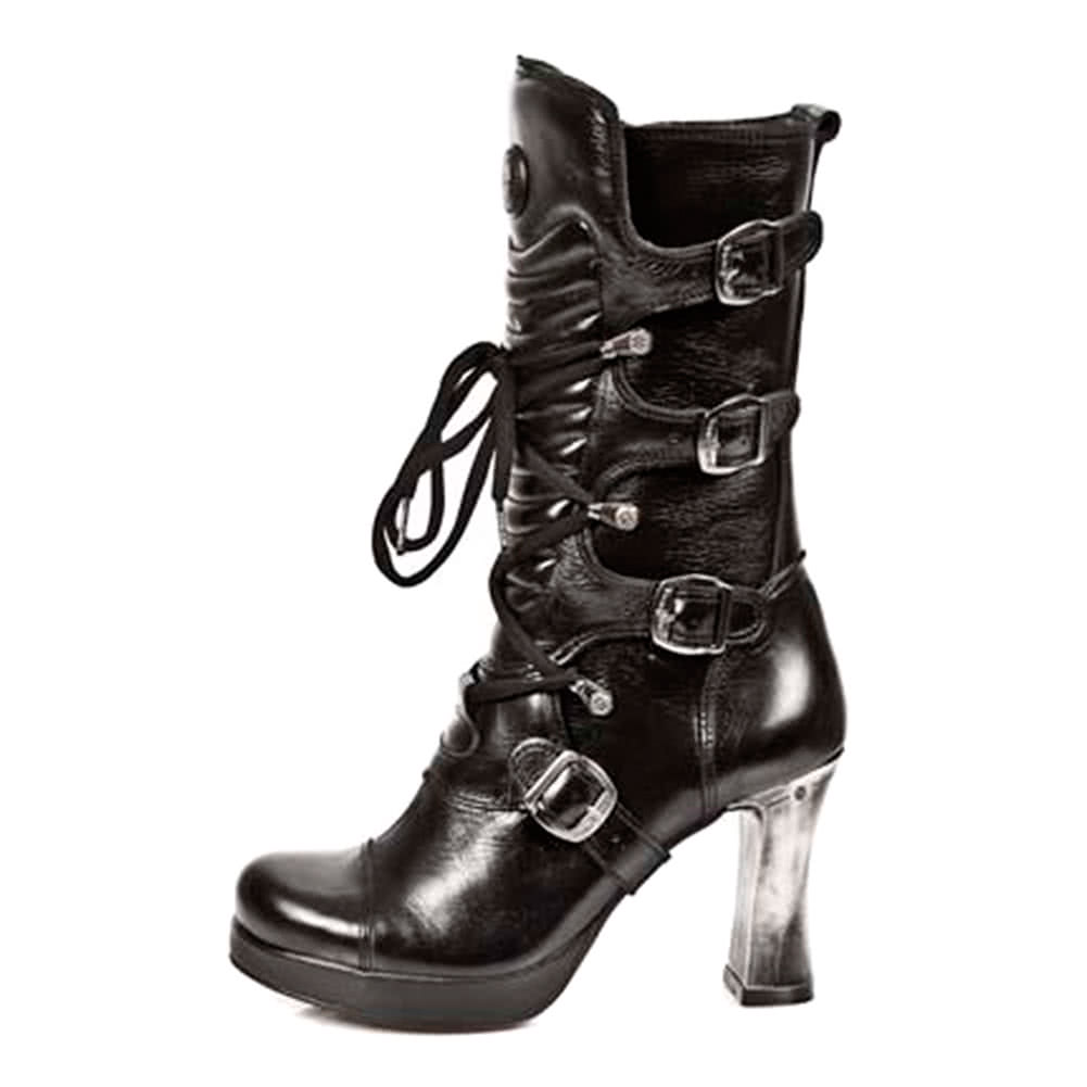 New Rock M.5815-S10 Goth Heeled Boots (Black)