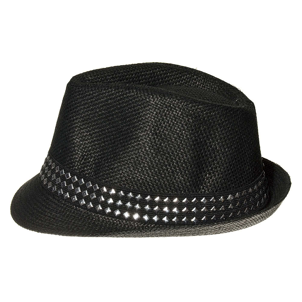 Blue Banana Studded Straw Trilby Hat (Black)