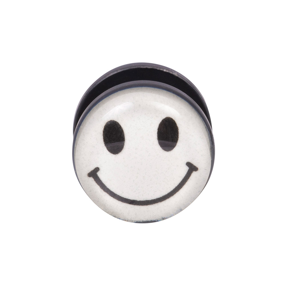 Blue Banana Body Piercing Dilatación Acrílico Glow Smiley Ear Plug (Blanco)