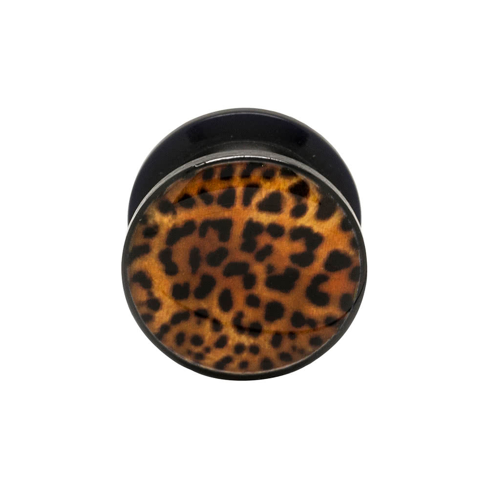 Blue Banana Acrylic Leopard Print Ear Plug 5-12mm (Brown)