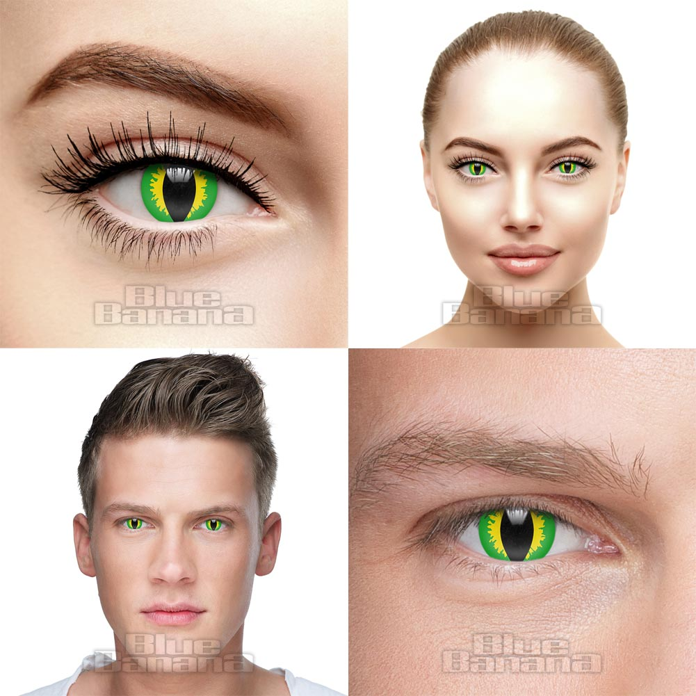 Green Lizard 90 Day Coloured Contact Lenses (Green)