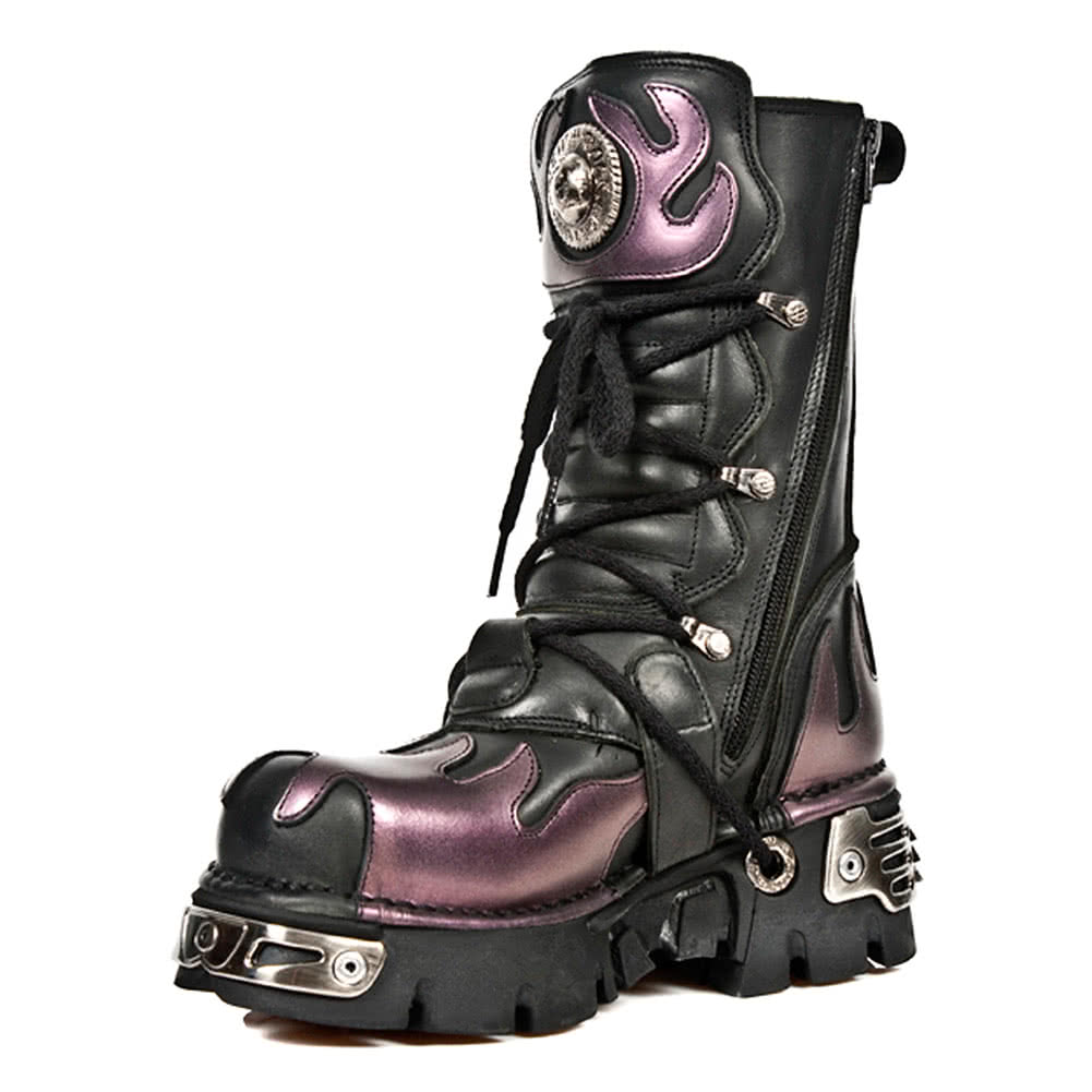 New Rock Style M.591-S5 Flame Reactor Boots (Black/Purple)