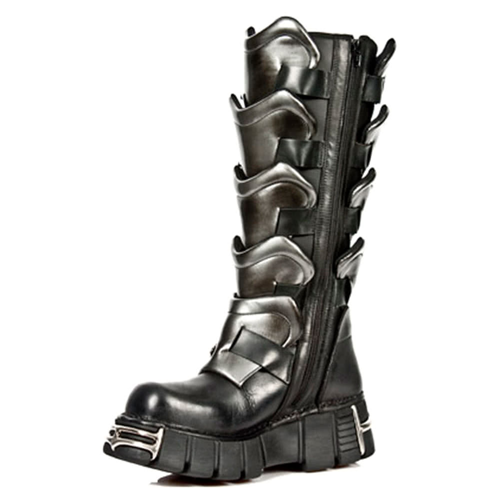 New Rock Style M.738-S1 Buckles & Scales Tower Boots (Black)