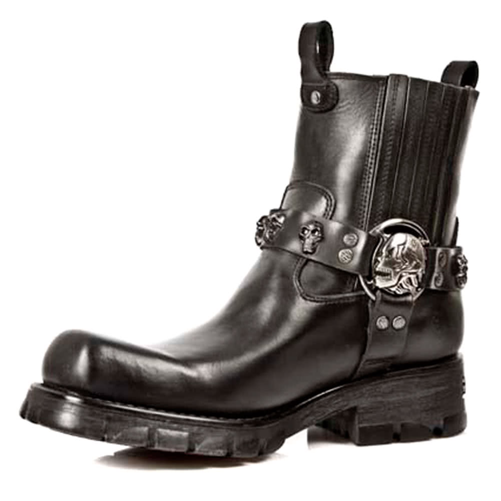 New Rock M.7621-S1 Motorcycle Ankle Boots (Black)
