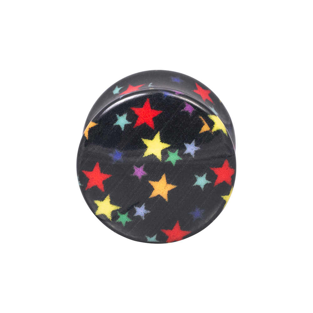 Blue Banana Acrylic Star Ear Plug 6-16mm (Black)