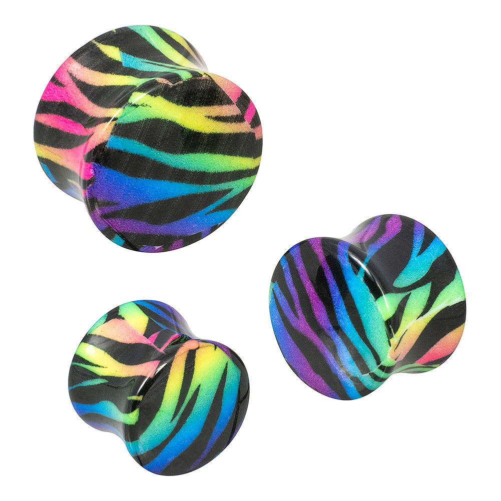 Blue Banana Body Piercing Dilatación Acrílico Zebra Ear Plug (Multicolor)
