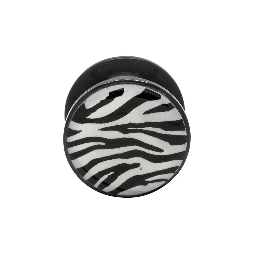 Blue Banana Acrylic Zebra Ear Plug 5-14mm (Black/White)