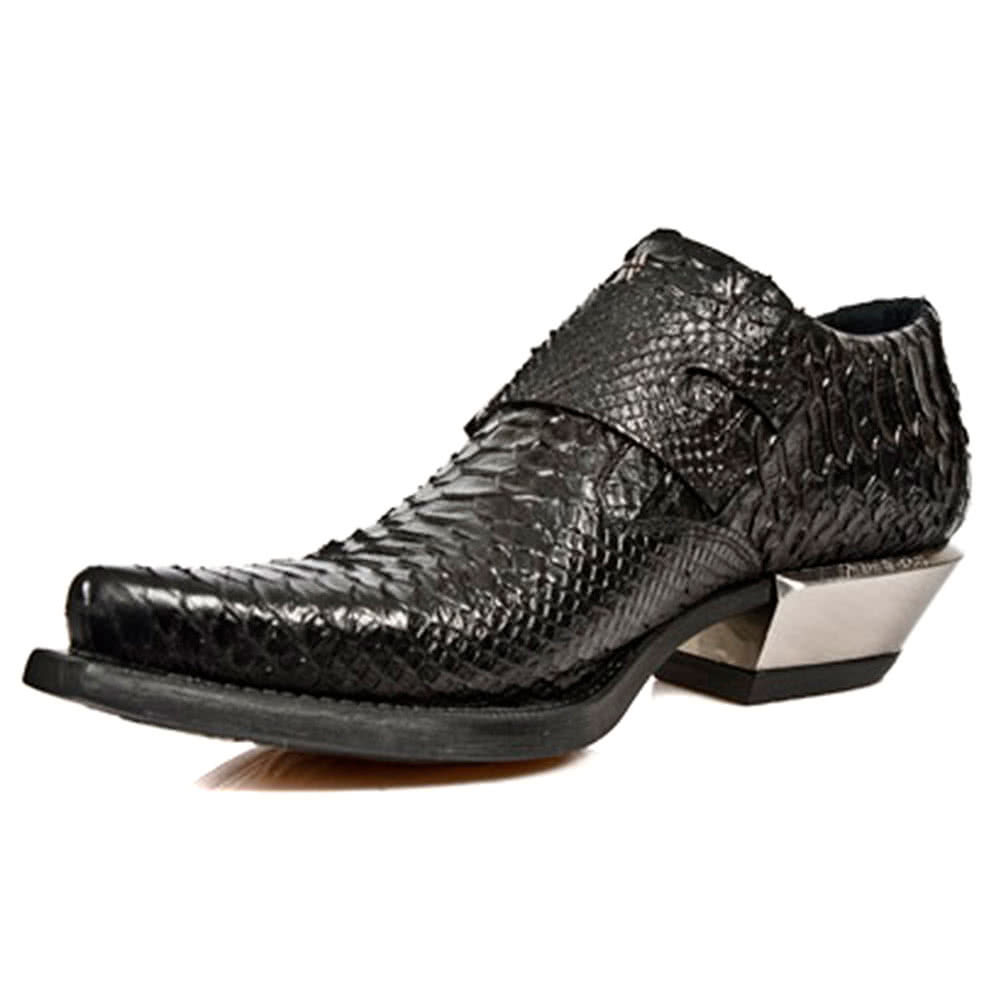 New Rock M.7934-S2 West Snakeskin Shoes (Black)