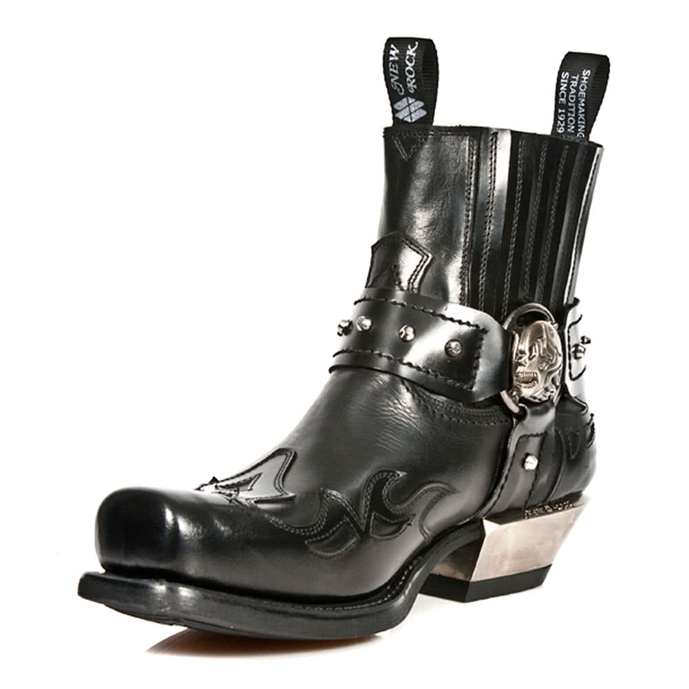 New Rock M.7966-S1 West Ankle Boots (Black)