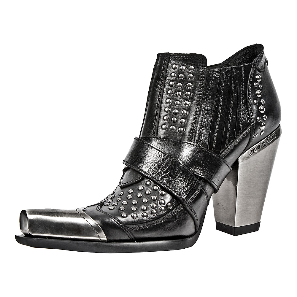 New Rock M.7984P-S1 Bull Ankle Boots (Black)