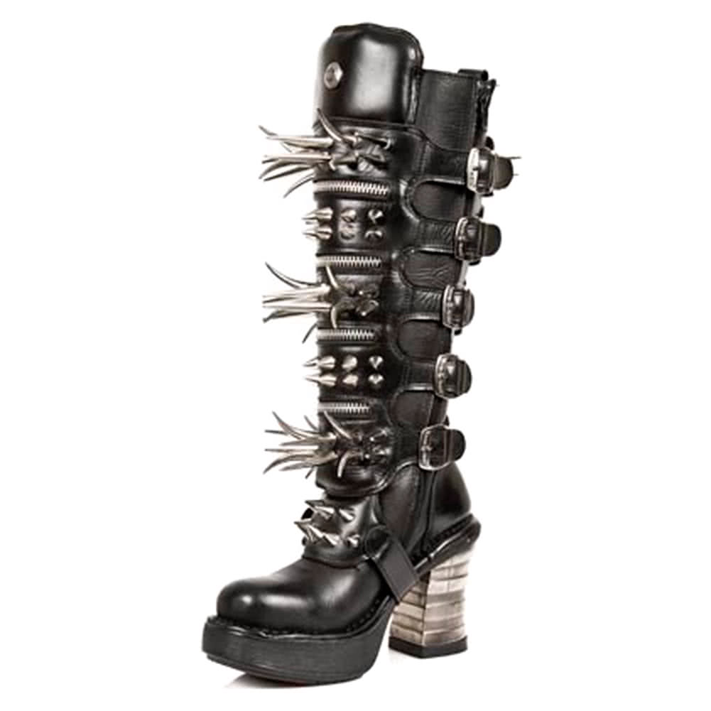 New Rock M.8332-C1 Platforma Spike High Boots (Black)
