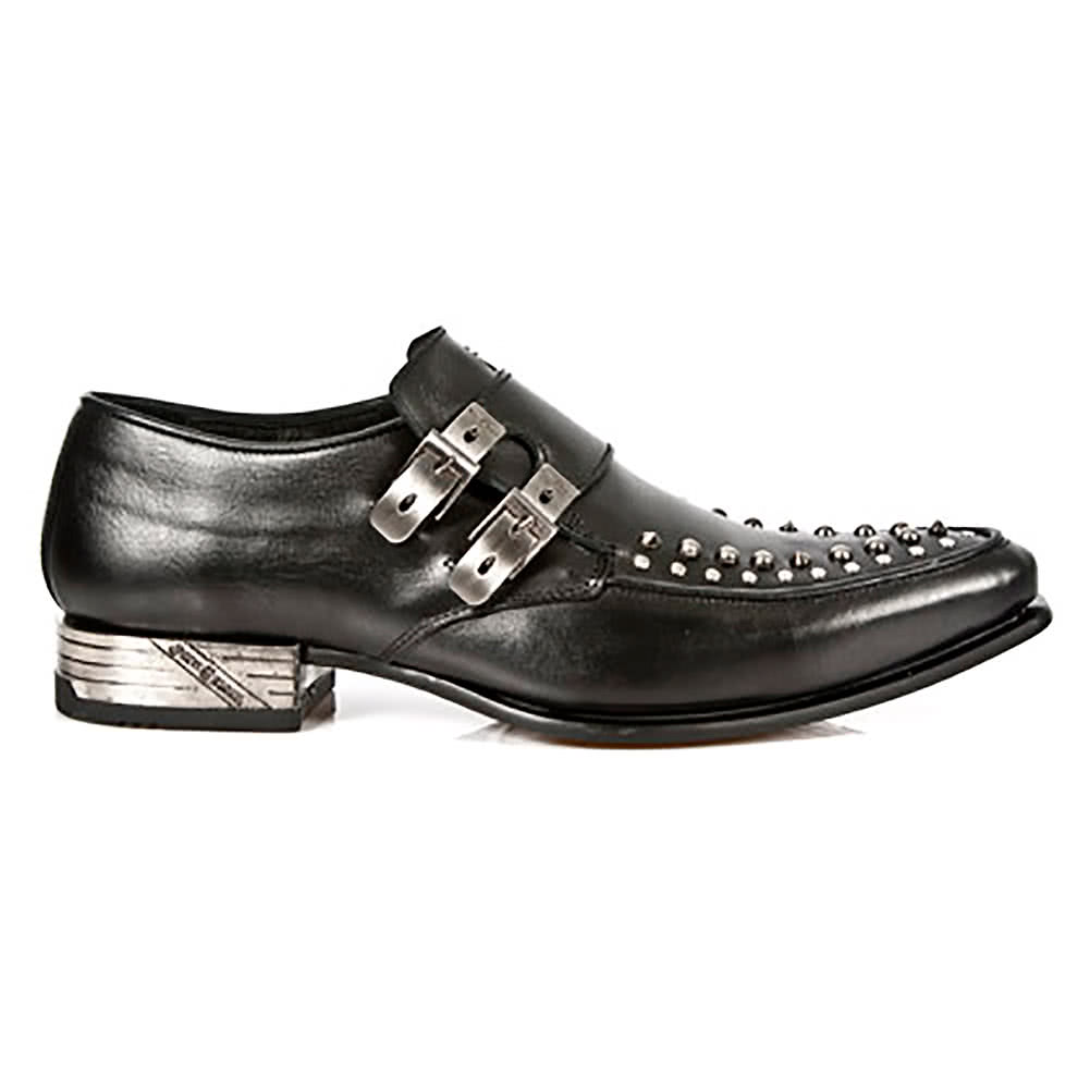 New Rock Style M.BG003-S2 Studs & Buckles Shoes (Black)