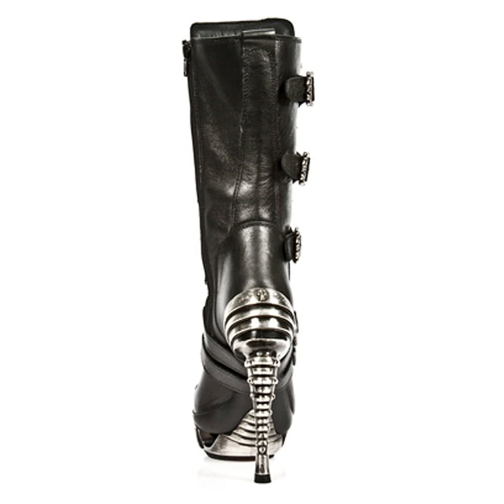 New Rock M.MAG006-S1 Magneto Stiletto Heel Boots (Black)