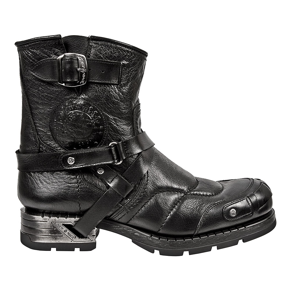 New Rock Style M.MR004-S1 Distressed Leather Motorock Ankle Boots (Black)