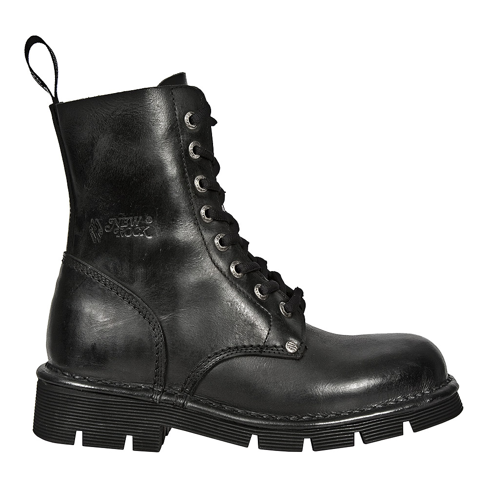 New Rock Style M.NEWMILI084-S1 Lace Up Boots (Black)