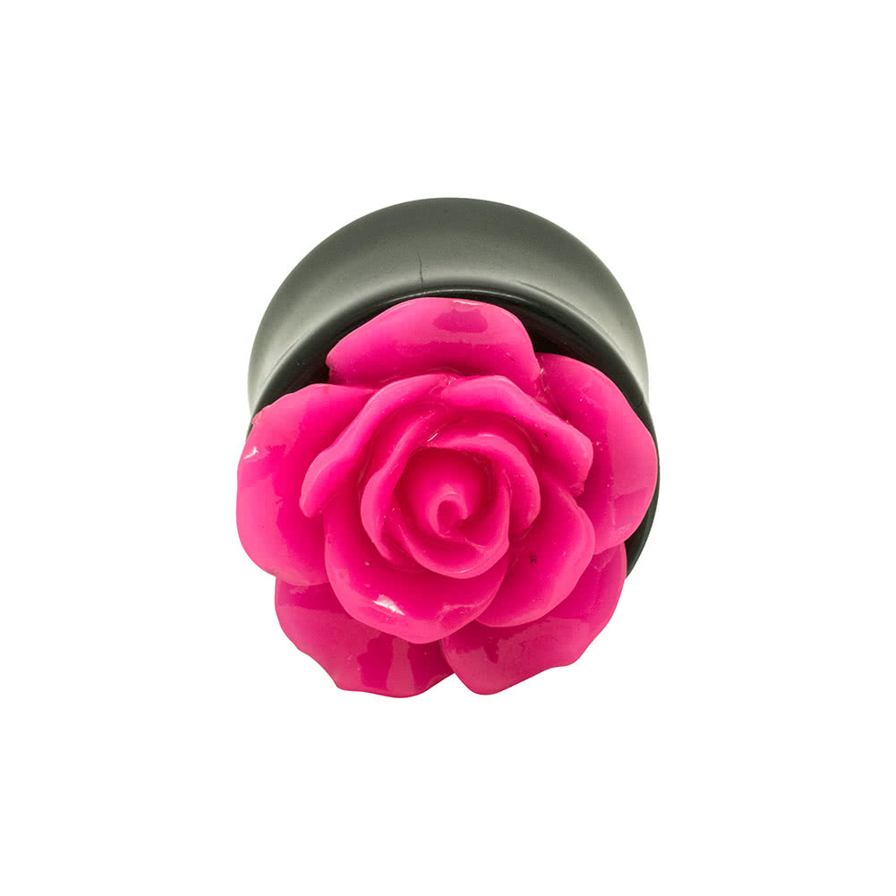 Blue Banana Acrylic Rose Ear Plug 8-22mm (Dark Pink)