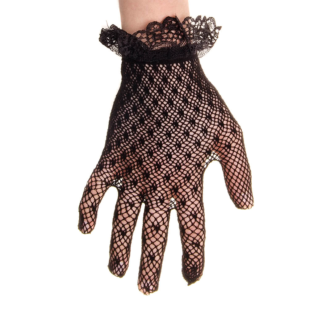 Blue Banana Frill Cuff Lace Gloves (Black)