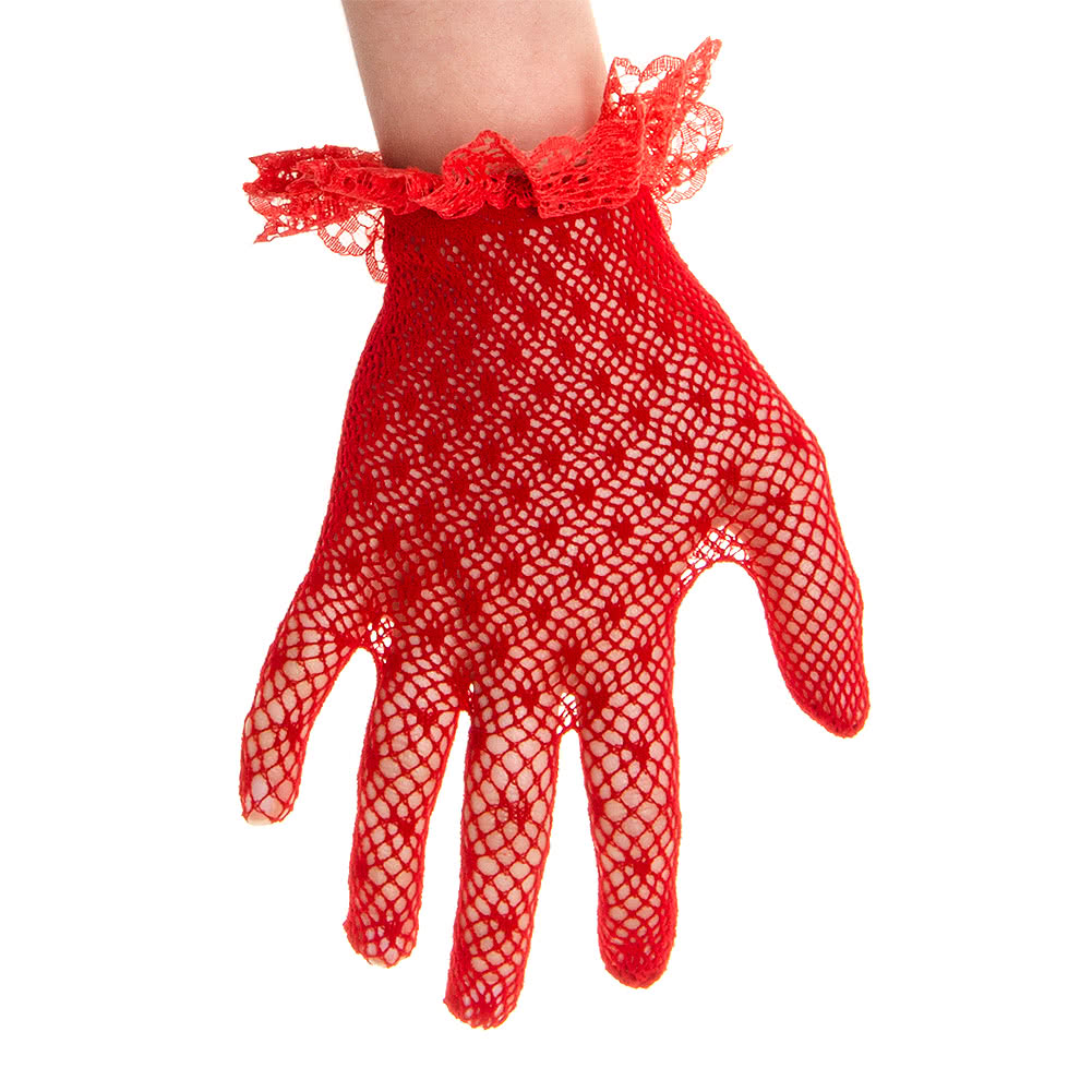 Blue Banana Frill Cuff Lace Glove (Red)