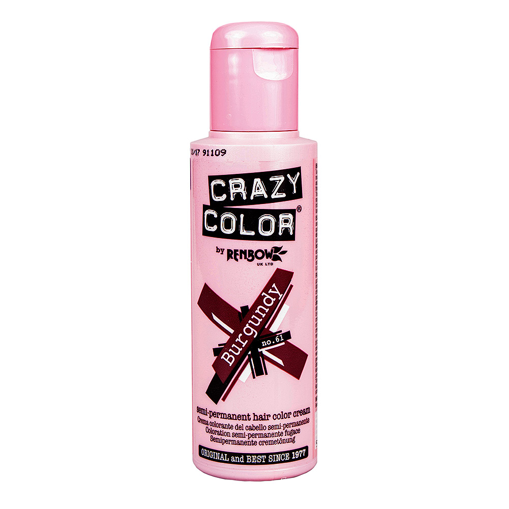 Crazy Color Semi-Permanent Hair Dye 100ml (Burgundy)