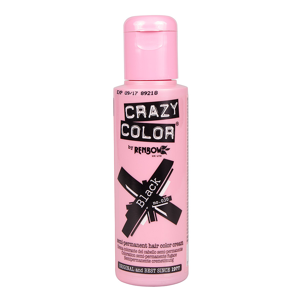 Tinte capilar semi-permanente de Crazy Color 100ml (Black - negro)