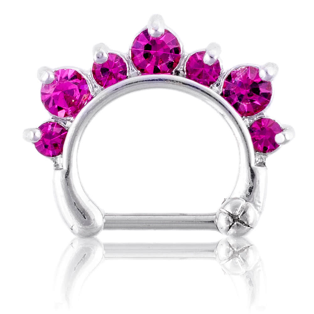 Blue Banana Body Piercing Septum Clicker o de Clip de 1.2 x 8mm - Fucsia