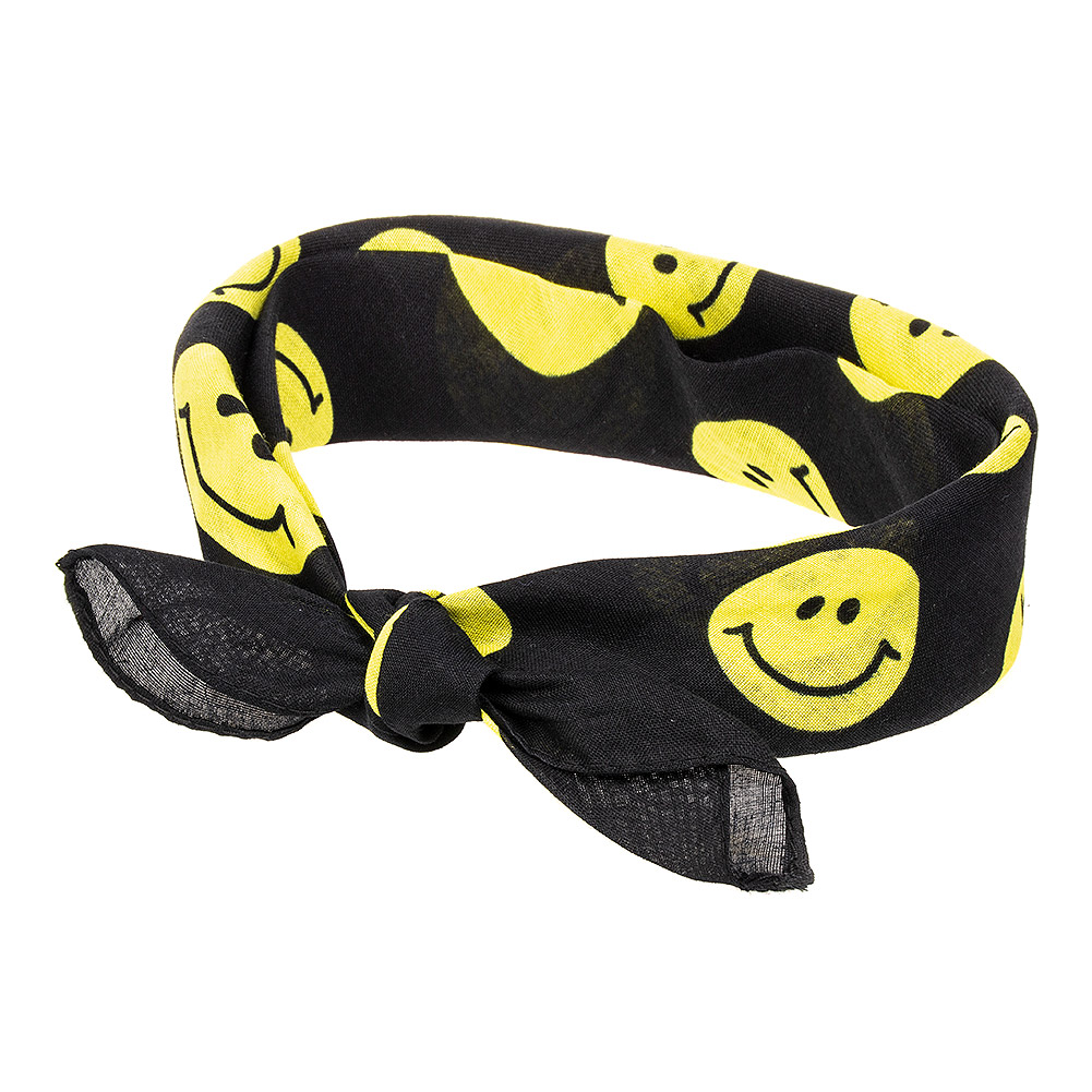 Blue Banana Smiley Face Bandana (Black/Yellow)